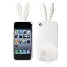 Rabito Custodia in Poliuretano con Orecchi e Coda per iPhone 4/4S Colore Bianco