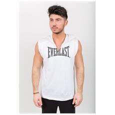 T-shirt Uomo Smanicata Con Cappuccio Bianco Grigio Xl