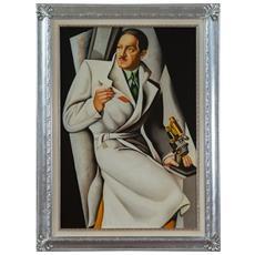 Dipinto A Mano Olio Su Tela Con Cornice In Legno Finitura Foglia Argento 80x3x110 Cm