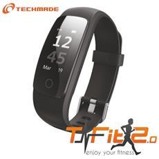 """Activity Tracker T-Fit 2.0 Resistente all'acqua IP67 Display 0.96"""" Bluetooth con GPS e Cardiofrequenzimetro Nero - Italia"""