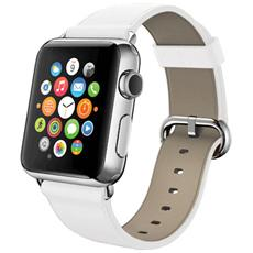 Cinturino WristBand in vera pelle per Apple Watch da 42mm - Bianco