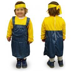 619366 Costume Carnevale Aiutante Giallo Blu Bambina Da 3 A 12 Anni - 9/12 Anni