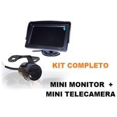 """Kit Completo Telecamera Con Staffa + Monitor Lcd Led 4,3"""""""" Per Parcheggio Retromarcia Auto Suv Furgone Roulotte"""