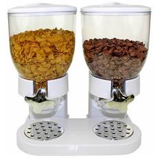 Doppio Distributore Dispenser Cereali Contenitore Dosatore Dosa Colazione Corn Flakes