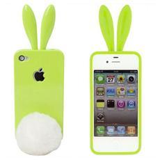 Rabito Custodia in Poliuretano con Orecchi e Coda per iPhone 4/4S Colore Verde