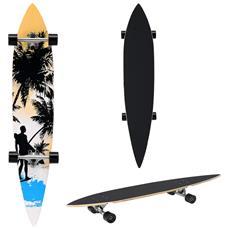 Longboard (116 X 22 X 12 Cm) (abec 7 - Cuscinetti A Sfera) (arancione - Nero - Blu - Motivo Surf) Skateboard / Tavola Da Surf / Tavola Vintage
