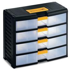 Cassettiera Bricolage Store-age 42001 nero / trasparente L39,1 x P19,7 x H33,4