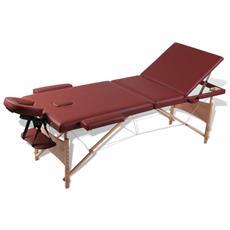 Lettino Pieghevole Da Massaggio Rosso 3 Zone Con Telaio Legno
