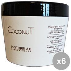 Set 6 Coconut Maschera Nutriente Intensa Vaso 250 Ml. Prodotti Per Capelli