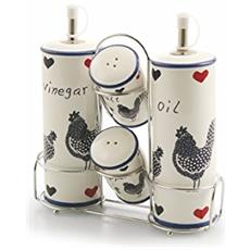 Rooster Set Menage, Gres, Bianco / blu