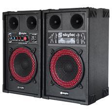 Coppia casse amplificate 400w x karaoke woofer 21 cm con lettore usb-sd con 2 ingressi microfonici