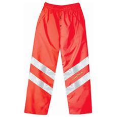 Pantaloni Ad Alta Visibilità In Poliestere Oxford Traspirante Colore Rosso Taglia L