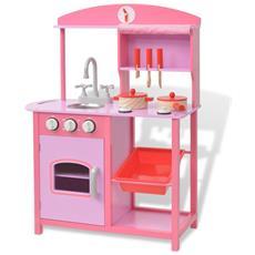 Cucina Giocattolo In Legno 60x27x83 Cm Rosa