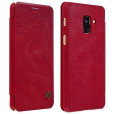 Custodia Galaxy A8 Portafoglio Vera Pelle Serie Qin Nillkin Portacarte Rosso