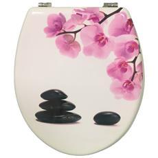 Copriwater Universale In Legno Mdf Con Decoro Pesco Zen Linea Flower