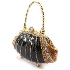 scatole per gioielli 'sac a main' marrone-nero - [ j7381]