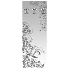 Appendiabiti Da Parete 49x139 Cm Modern Flowers Grey