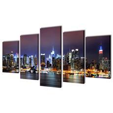 5 Pz Set Stampa Su Tela Da Muro Panorama New York A Colori 200 X 100cm