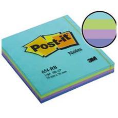 confezione da 12 pezzi - blocco post-it 654-rb aquatic 100fg 76x76mm 72gr assortito