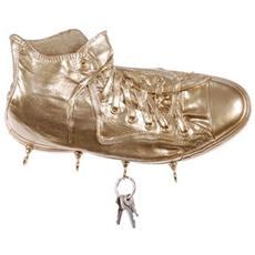 Portachiavi da parete ''Richie'' in resina decorata a mano cm 30x17x10, oro