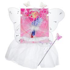 Costume Fatina Farfalla Bianco Con Ali Bacchetta E Tiara Per Bambine 36 Mesi