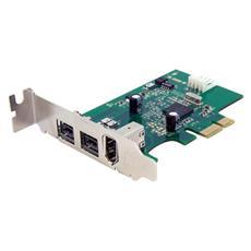 Scheda adattatore PCI Express FireWire 2b 1a 1394 a basso profilo - 3 porte