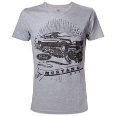 Ford - Grey Melange Mustang Black Print (T-Shirt Unisex Tg. L)