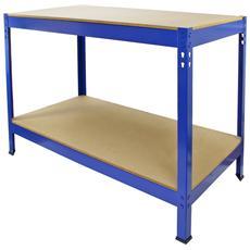Tavolo Da Lavoro In Acciaio E Mdf Senza Bulloni Q-Rax Blu 120cm X 60cm X 90cm
