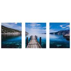 Trittico Stampa Su Tela 3 Pannelli Blu Verde Natura Mare Moderno