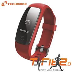 "Activity Tracker T-Fit 2.0 Resistente all'acqua IP67 Display 0.96"" Bluetooth con GPS e Cardiofrequenzimetro Rosso – Italia"