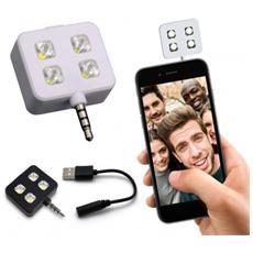 Mini Flash 4 Led per Selfie compatibile con Universale Jack 3.5mm - Nero