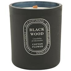 Black Wood Candela Profumata Cotton Flower, Cera / vetro, Nero, 10 X 10 X 12 Cm