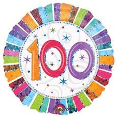 Palloncino Compleanno Mylar 100 Anni Radial 45 Cm *24254