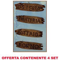 Offerta 8 Insegne Botteghe 6,5x1,5cm Accessori Presepe