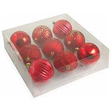 2411642 Set 9 Palle Decorative Di Natale, Pvc, Rosso, 10x10x10 Cm