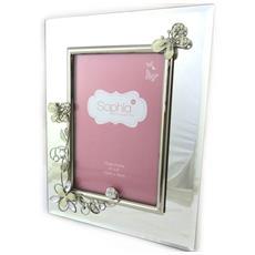 photo frame 'papillon de soie' argento beige (10x15 cm) - [ n4819]