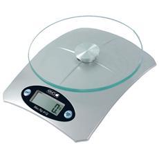 033344 Bilancia Elettronica da Cucina Portata 5 Kg Colore Silver / Vetro