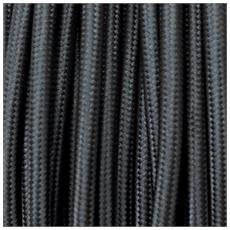 50 Mt Cavo Elettrico Tondo Rotondo Stile Vintage Rivestito In Tessuto Colorato Nero H03vv-f Sezione 3x0,75 Per Lampadari, Lampade, Abat Jour, Design. Made In Italy
