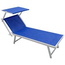 Lettino Da Campeggio Sdraio Blu Melange Con Tettuccio Per Spiaggia Mare Piscina Giardino Da Esterno
