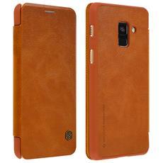 Custodia Galaxy A8 Portafoglio Vera Pelle Serie Qin Nillkin Portacarte Marrone
