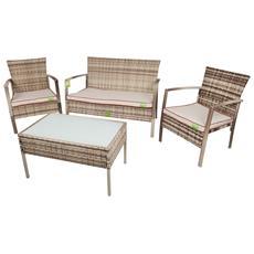 Set Sofa' Completo Trend Bitono Polyrattan Divano + Poltrona C / cuscini + Tavolo Coveri Arredo