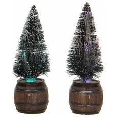 Due Abeti In Botte H23cm - Tree In Barrel Cod. 612143 Presepe