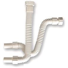 Flessibile Bellow Con Dado E Manicotto, Below Bianco Ceramica Dado Girevole 1'' Indeformabile E Armato Con Spirale Acciaio Lunghezza Mm. 300/600