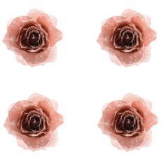 4 Rose Rosa Marmo Glitterata 14cm Appendibile Addobbi Albero Natale