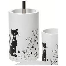 Porta Scopino In Ceramica Bianco Decorato - Serie Fibi