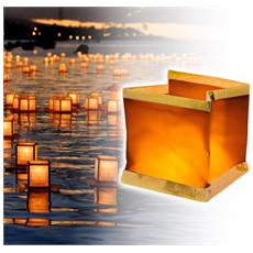 747012 Pack 5 Lanterne Galleggianti Con Candela Tea Light Inclusa Quadrata