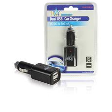 Caricabatteria per Auto 2-Outputs 1.0 A USB Nero