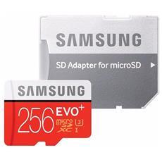MicroSD XC EVO Plus Capacità 256 GB UHS-I 3 Classe 10 Velocità fino 100 MB / s con Adattatore SD