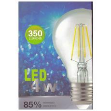 Set 4 Pezzi Lampadina Classica E27 Filamento Trasparente Led 8w Luce Bianco Calda Giallo 2700k Lampada 800lm Classe Energetica A