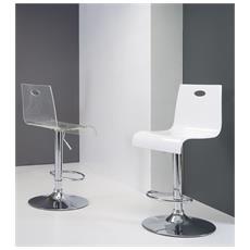 Sgabello Virtual Stool-bianco Lucido-metallo-cromato Sedute Comode, Confortevoli Di Design